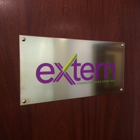 Colour etched brass nameplate sign