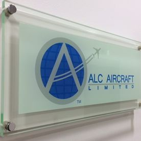 Colour acrylic logo sign and base